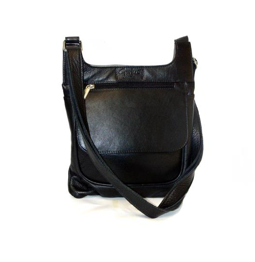 Black leather front flap pocket across body bag