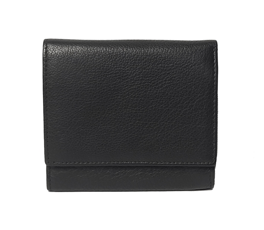 Black small leather square flap over purse