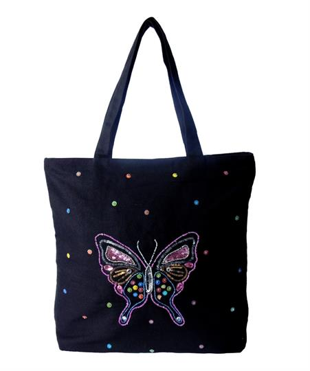 Black Butterfly Canvas shopper