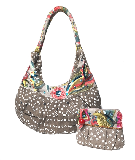Beige diamonds and flowers embellished canvas bag