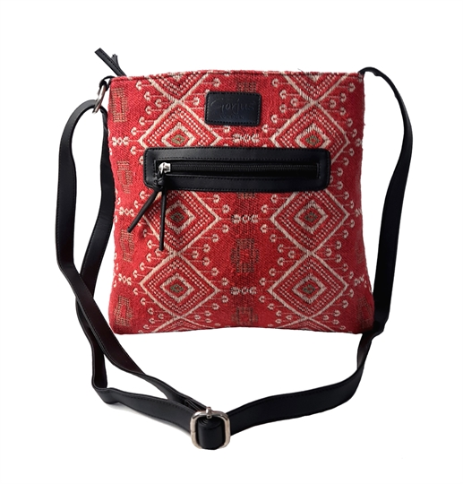 Red Jewel tapestry front zip pocket across body bag