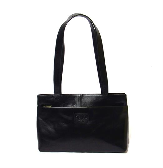 Black Veg tanned real leather front zip pocket bag