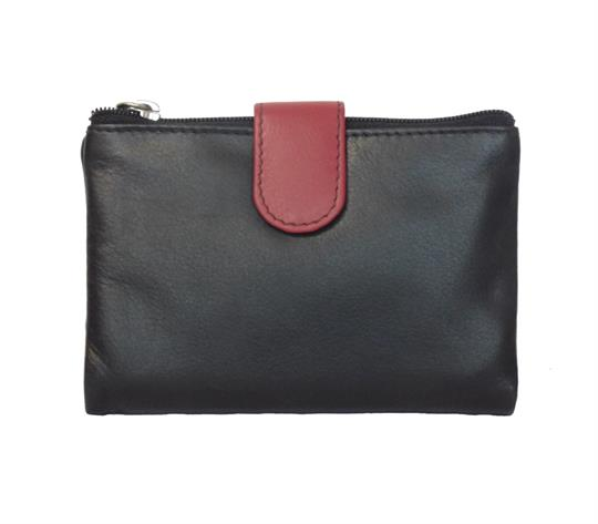 Black Real leather single top zip  purse