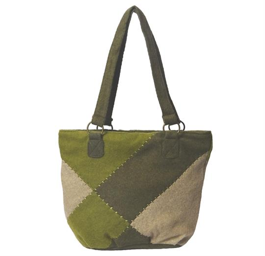 Grey patchwork felt wool small shopper bag