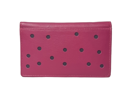 Pink Real leather hearts applique purse