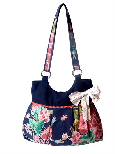 Navy Blue Bow and flower bag