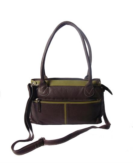 Brown Real leather front zip pocket bag
