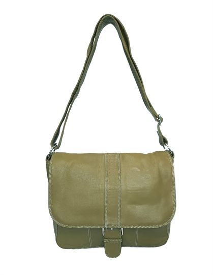 Green leather flap over across body satchel