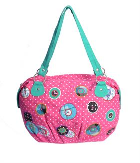 Pink polka dot hobo bag