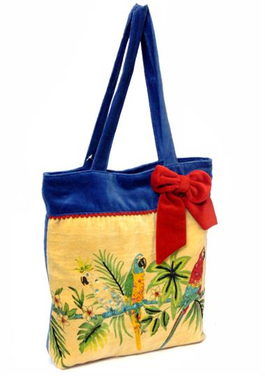 Blue Parrot fashion velvet embroidered bag