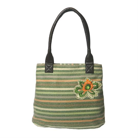 Olive multi rainbow stripe tote handbag