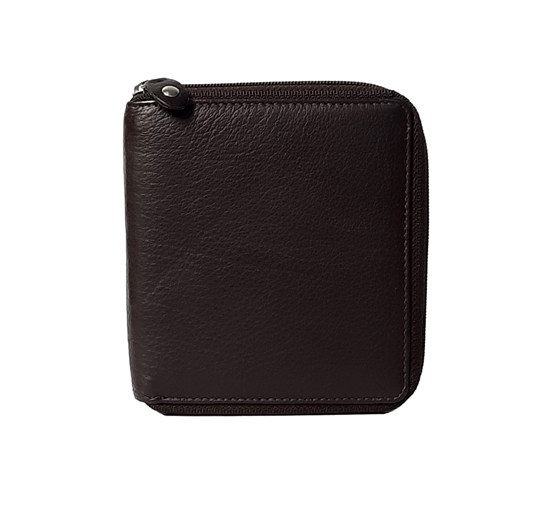 Brown leather all around zip purse