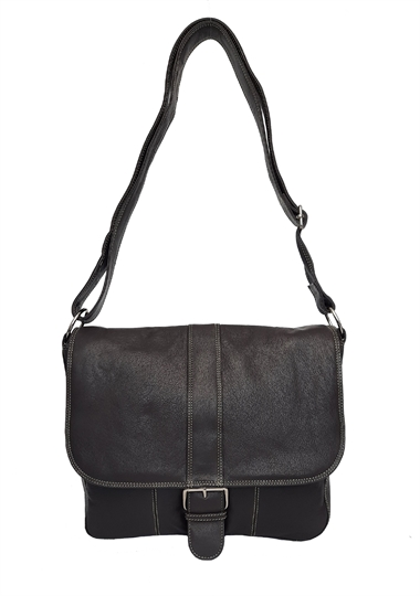 Brown leather flap over across body satchel