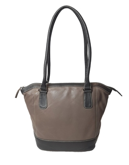 leather two tone tote bucket bag