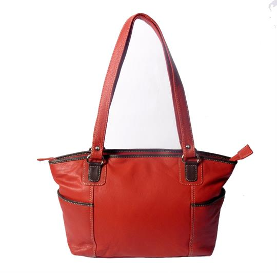 Real leather side pockets bag