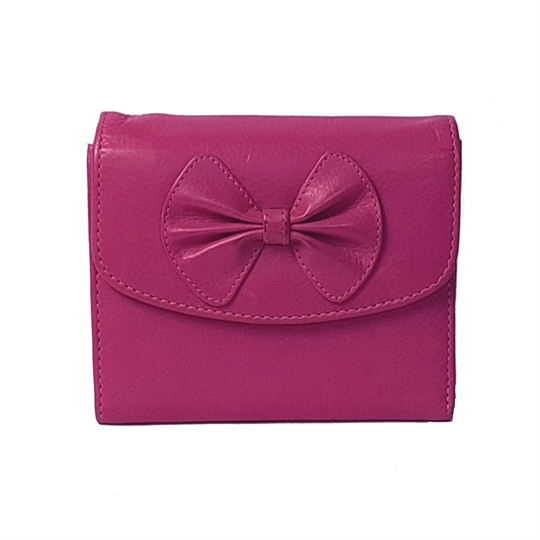 Pink Real leather bow purse