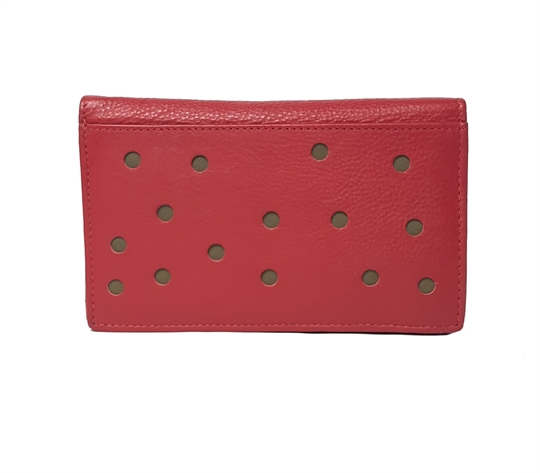 Red Real leather dots cut out purse