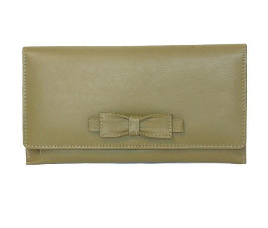 Green Real leather large bow purse