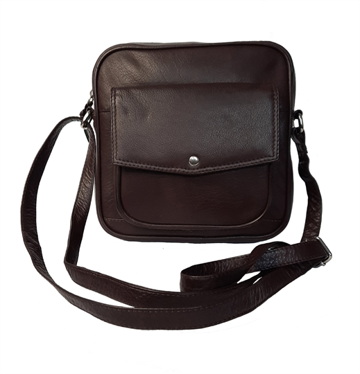 Brown small leather front flap pocket across body bag