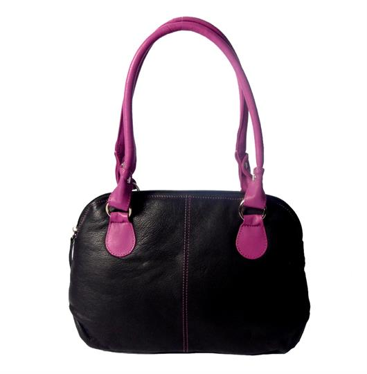 Black leather small handbag front cut and sewn detail