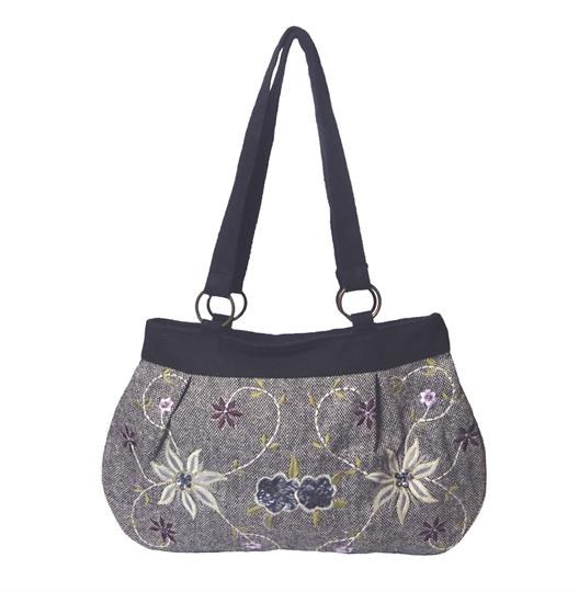 Grey Tweed flowers and sequins embellished shoulder bag