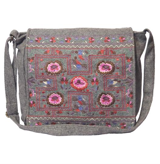 Grey flower power felt embroidered satchel