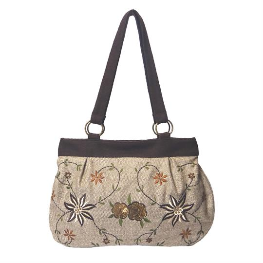 Beige Tweed flowers and sequins embellished shoulder bag