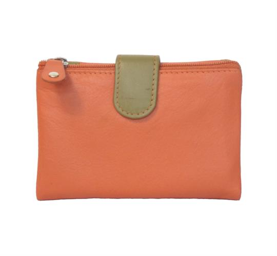 Orange Real leather single top zip purse