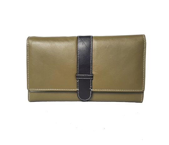 Green Real leather belt loop flap purse