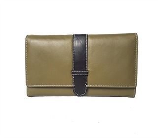 Real leather belt loop flap purse