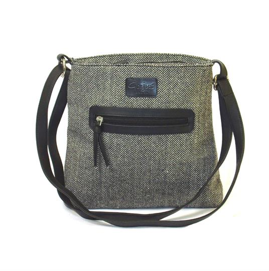 Grey herringbone front zip pocket small across body bag