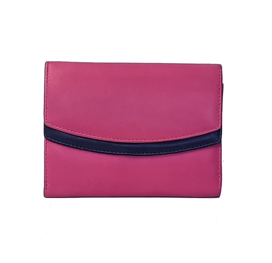 Pink Real leather double curved flap purse