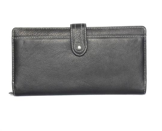 Black Real Leather Large loop closure purse