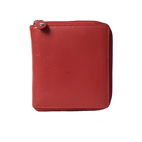 Red leather all around zip purse