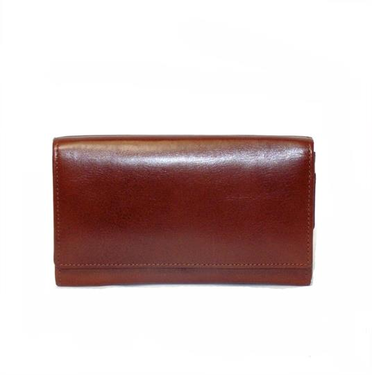 Brown leather flap over purse