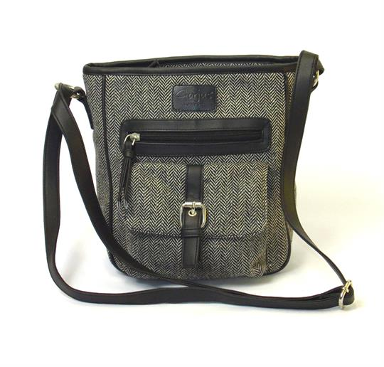 Grey Herringbone front pocket across body bag