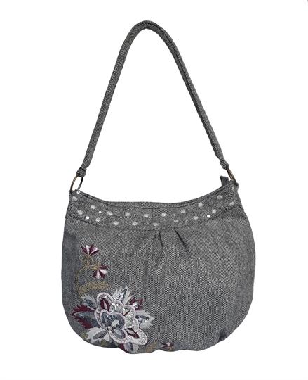 Grey tweed flower embellished hobo bag
