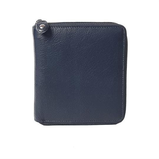 Navy Blue leather all around zip purse