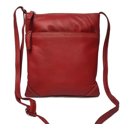 Red leather stitch across body bag
