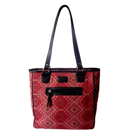 Red Jewel tapestry print shopper bag